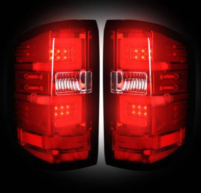 Recon Lighting - Chevy Silverado 14-17 1500/2500/3500 (Fits 3rd GEN All Body Styles Chevy Silverado & GMC Sierra 15-17 Dually ONLY) LED TAIL LIGHTS - Red Lens - Image 2