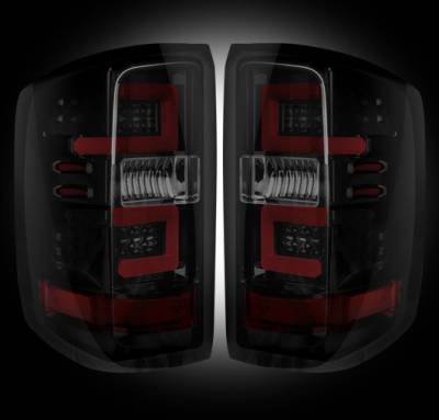 Recon Lighting - Chevy Silverado 14-17 1500/2500/3500 (Fits 3rd GEN All Body Styles Chevy Silverado & GMC Sierra 15-17 Dually ONLY) LED TAIL LIGHTS - Smoked Lens - Image 2