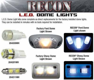 Recon Lighting - Dodge & Jeep High Power Dome Light Set LED Replacement - Fits Dodge RAM 09-16 1500 & RAM 10-16 2500/3500 & Jeep Wrangler 07-16 - Image 2