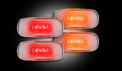 Recon Lighting - Dodge 02-09 RAM Dually Fender Lenses (4-Piece Set) w/ 2 Red LED Lights & 2 Amber LED Lights - Clear Lens w/ Chrome Trim - Image 2