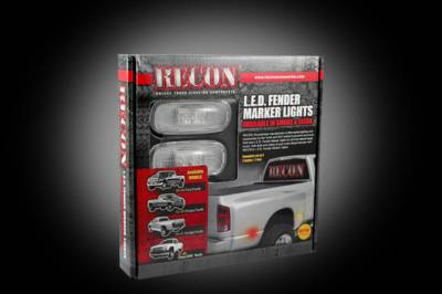 Recon Lighting - Dodge 02-09 RAM Dually Fender Lenses (4-Piece Set) w/ 2 Red LED Lights & 2 Amber LED Lights - Clear Lens w/ Chrome Trim - Image 3