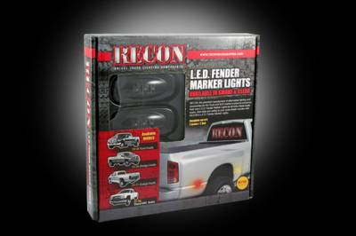 Recon Lighting - Dodge 02-09 RAM Dually Fender Lenses (4-Piece Set) w/ 2 Red LED Lights & 2 Amber LED Lights - Smoked Lens w/ Black Trim - Image 3