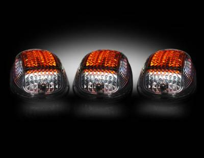 Lighting - Cab Roof - Recon Lighting - Dodge 03-15 Heavy-Duty 2500 & 3500 (5-Piece Set) Smoked Cab Roof Light Kit with Strobe LED's & Amber Running Light LED's - Complete Kit With Wiring & Hardware