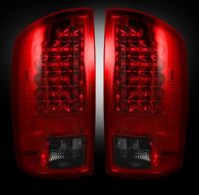Lighting - Tail Lights - Recon Lighting - Dodge 07-08 RAM 1500 & 07-09 RAM 2500/3500 LED TAIL LIGHTS - Dark Red Smoked Lens