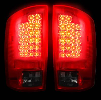 Recon Lighting - Dodge 07-08 RAM 1500 & 07-09 RAM 2500/3500 LED TAIL LIGHTS - Dark Red Smoked Lens - Image 2