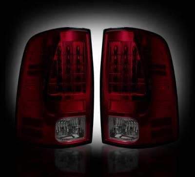 Lighting - Tail Lights - Recon Lighting - Dodge 09-14 RAM 1500 & 10-14 RAM 2500/3500 (Replaces Factory OEM Halogen Tail Lights) - Dark Red Smoked Lens