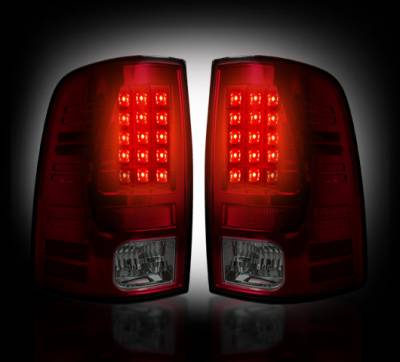 Recon Lighting - Dodge 09-14 RAM 1500 & 10-14 RAM 2500/3500 (Replaces Factory OEM Halogen Tail Lights) - Dark Red Smoked Lens - Image 2