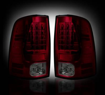 Lighting - Tail Lights - Recon Lighting - Dodge 13-15 RAM 1500 & 10-15 RAM 2500/3500 (Replaces Factory OEM LED Tail Lights) - Dark Red Smoked Lens