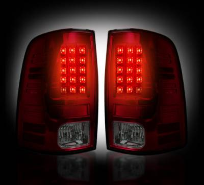 Recon Lighting - Dodge 13-15 RAM 1500 & 10-15 RAM 2500/3500 (Replaces Factory OEM LED Tail Lights) - Dark Red Smoked Lens - Image 2
