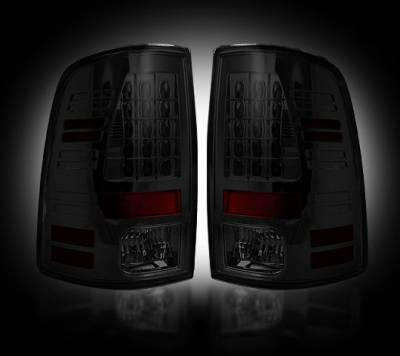 Recon Lighting - Dodge 13-15 RAM 1500 & 10-15 RAM 2500/3500 (Replaces Factory OEM LED Tail Lights) - Smoked Lens - Image 1