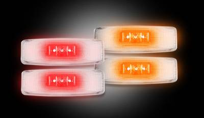 Recon Lighting - Dodge 94-01 RAM Dually Fender Lenses (4-Piece Set) w/ 2 Red LED Lights & 2 Amber LED Lights - Clear Lens w/ Chrome Trim - Image 2