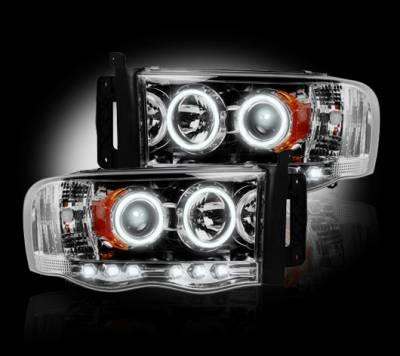 Recon Lighting - Dodge RAM 02-05 1500/2500/3500 PROJECTOR HEADLIGHTS - Clear / Chrome - Image 2