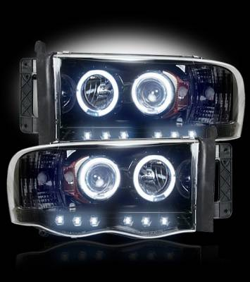 Recon Lighting - Dodge RAM 02-05 1500/2500/3500 PROJECTOR HEADLIGHTS - Smoked / Black - Image 2