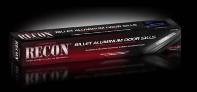 Recon Lighting - Dodge RAM 02-14 1500 & 03-14 2500/3500 Billet Aluminum Door Sill / Kick Plate (2pc Kit Fits Driver & Front Passenger Side Doors Only) in Black Finish - RAM in BLUE ILLUMINATION - Image 2