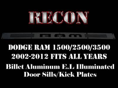 Recon Lighting - Dodge RAM 02-14 1500 & 03-14 2500/3500 Billet Aluminum Door Sill / Kick Plate (2pc Kit Fits Driver & Front Passenger Side Doors Only) in Black Finish - RAM in BLUE ILLUMINATION - Image 3