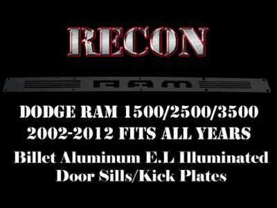 Recon Lighting - Dodge RAM 02-14 1500 & 03-14 2500/3500 Billet Aluminum Door Sill / Kick Plate (2pc Kit Fits Driver & Front Passenger Side Doors Only) in Black Finish - RAM in BLUE ILLUMINATION - Image 3