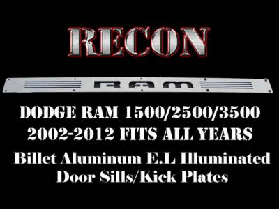 Recon Lighting - Dodge RAM 02-14 1500 & 03-14 2500/3500 Billet Aluminum Door Sill / Kick Plate (2pc Kit Fits Driver & Front Passenger Side Doors Only) in Brushed Finish - RAM in BLUE ILLUMINATION - Image 3