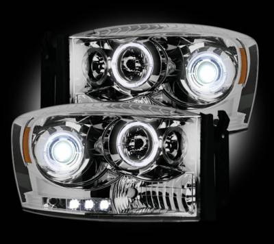 Recon Lighting - Dodge RAM 06-08 1500 & 06-09 2500/3500 PROJECTOR HEADLIGHTS - Clear / Chrome - Image 2