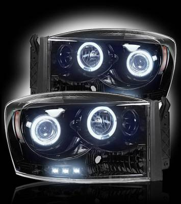 Recon Lighting - Dodge RAM 06-08 1500 & 06-09 2500/3500 PROJECTOR HEADLIGHTS - Smoked / Black - Image 2
