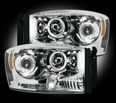 Lighting - Head Lights - Recon Lighting - Dodge RAM 06-08 1500 & 06-09 2500/3500 PROJECTOR HEADLIGHTS w/ CCFL HALOS & DRL - Clear / Chrome