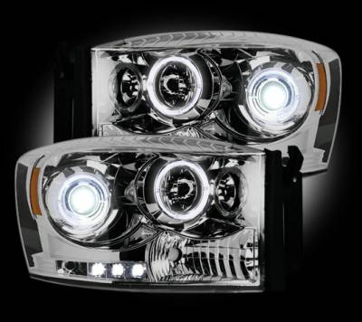 Recon Lighting - Dodge RAM 06-08 1500 & 06-09 2500/3500 PROJECTOR HEADLIGHTS w/ CCFL HALOS & DRL - Clear / Chrome - Image 2