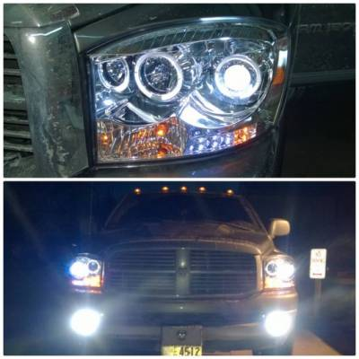 Recon Lighting - Dodge RAM 06-08 1500 & 06-09 2500/3500 PROJECTOR HEADLIGHTS w/ CCFL HALOS & DRL - Clear / Chrome - Image 3