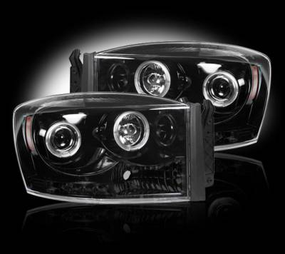 Lighting - Head Lights - Recon Lighting - Dodge RAM 06-08 1500 & 06-09 2500/3500 PROJECTOR HEADLIGHTS w/ CCFL HALOS & DRL - Smoked / Black