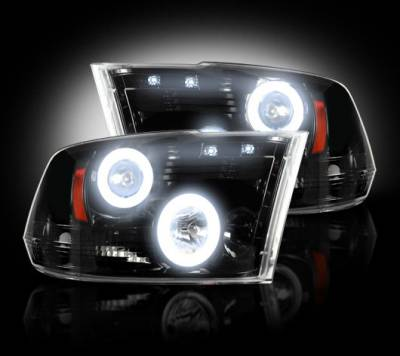 Lighting - Head Lights - Recon Lighting - Dodge RAM 09-13 1500 & 10-14 2500/3500 PROJECTOR HEADLIGHTS w/ CCFL HALOS & DRL - Smoked / Black