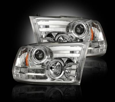 Lighting - Head Lights - Recon Lighting - Dodge RAM 14-15 1500 & 15-16 2500/3500 PROJECTOR HEADLIGHTS w/ Ultra High Power Smooth OLED DRL & High Power Amber LED Turn Signals - Clear / Chrome