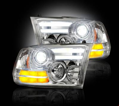 Recon Lighting - Dodge RAM 14-15 1500 & 15-16 2500/3500 PROJECTOR HEADLIGHTS w/ Ultra High Power Smooth OLED DRL & High Power Amber LED Turn Signals - Clear / Chrome - Image 2