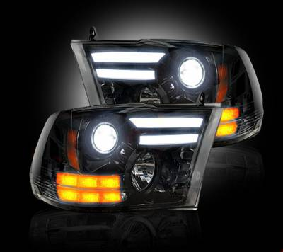 Recon Lighting - Dodge RAM 14-15 1500 & 15-16 2500/3500 PROJECTOR HEADLIGHTS w/ Ultra High Power Smooth OLED DRL & High Power Amber LED Turn Signals - Smoked / Black - Image 2