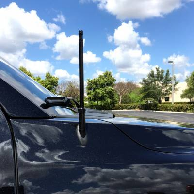 "Recon Lighting - Extended Range Aluminum 12"" Shorty Antenna - Universal Fitment Fits All Makes & Models w/ OEM Factory Threaded Antenna - BLACK - Image 2"
