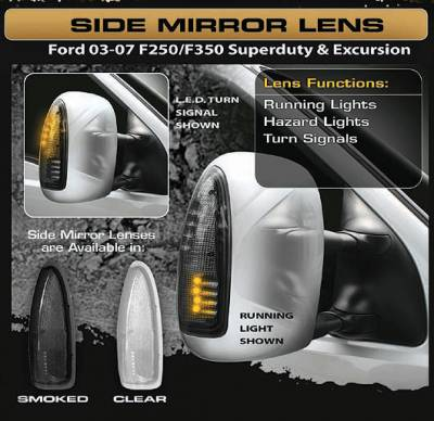 Recon Lighting - Ford 03-07 F250/F350 Superduty & Excursion Side Mirror Lenses (2-Piece Set) w/ AMBER LED Running Lights & Turn Signals - Smoked Lens - Image 3