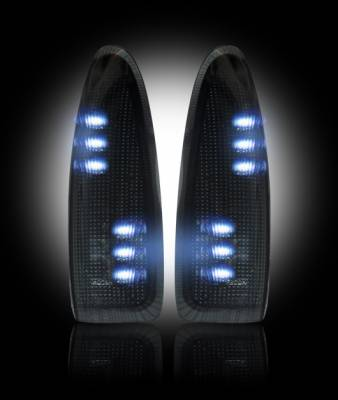 Lighting - Accent Lighting & Accessories  - Recon Lighting - Ford 03-07 F250/F350 Superduty & Excursion Side Mirror Lenses (2-Piece Set) w/ WHITE LED Running Lights & Turn Signals - Smoked Lens