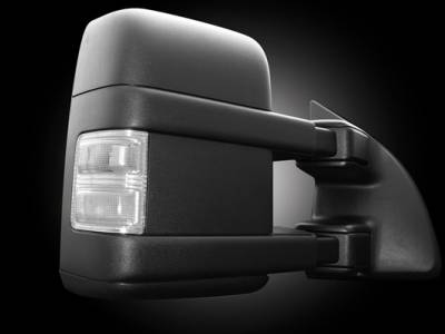 Recon Lighting - Ford 08-16 F250/F350 Superduty Side Mirror Lenses (2-Piece Set) w/ AMBER LED Running Lights & Turn Signals - Clear Lens - Image 2