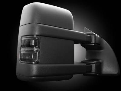 Recon Lighting - Ford 08-16 F250/F350 Superduty Side Mirror Lenses (2-Piece Set) w/ AMBER LED Running Lights & Turn Signals - Smoked Lens - Image 2