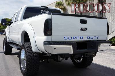 Recon Lighting - Ford 08-16 SUPERDUTY Raised Logo Acrylic Emblem Insert 3-Piece Kit for Hood, Tailgate, & Interior - BLUE - Image 3