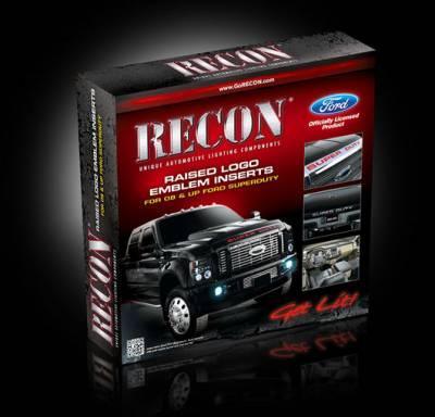 Recon Lighting - Ford 08-16 SUPERDUTY Raised Logo Acrylic Emblem Insert 3-Piece Kit for Hood, Tailgate, & Interior - CHROME Tailgate - BLACK Front - CHROME Interior - Image 2
