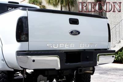 Recon Lighting - Ford 08-16 SUPERDUTY Raised Logo Acrylic Emblem Insert 3-Piece Kit for Hood, Tailgate, & Interior - CHROME Tailgate - BLACK Front - CHROME Interior - Image 3