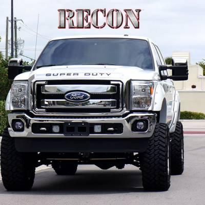 Recon Lighting - Ford 08-16 SUPERDUTY Raised Logo Acrylic Emblem Insert 3-Piece Kit for Hood, Tailgate, & Interior - CHROME Tailgate - BLACK Front - CHROME Interior - Image 5