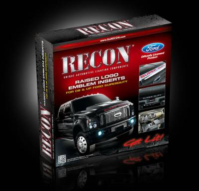 Recon Lighting - Ford 08-16 SUPERDUTY Raised Logo Acrylic Emblem Insert 3-Piece Kit for Hood, Tailgate, & Interior - RED - Image 2