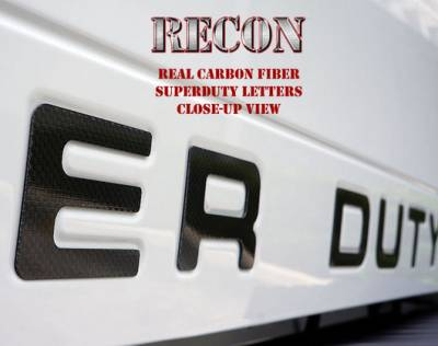 Exterior Accessories - Logos / Emblems - Recon Lighting - Ford 08-16 SUPERDUTY Raised Logo Carbon Fiber Emblem Insert 3-Piece Kit for Hood, Tailgate, & Interior - CARBON FIBER