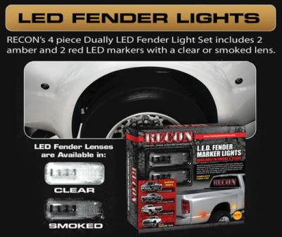 Recon Lighting - Ford 11-15 Superduty Dually Fender Lenses (4-Piece Set) w/ 2 Red LED Lights & 2 Amber LED Lights - Smoked Lens w/ Black Trim - Image 2