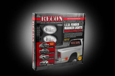 Recon Lighting - Ford 99-10 Superduty Dually Fender Lenses (4-Piece Set) w/ 2 Red LED Lights & 2 Amber LED Lights - Clear Lens w/ Chrome Trim - Image 3