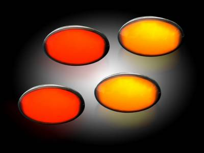 Recon Lighting - Ford 99-10 Superduty Dually Fender Lenses (4-Piece Set) w/ 2 Red LED Lights & 2 Amber LED Lights - Smoked Lens w/ Black Trim - Image 2