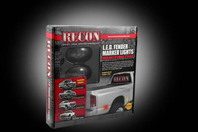 Recon Lighting - Ford 99-10 Superduty Dually Fender Lenses (4-Piece Set) w/ 2 Red LED Lights & 2 Amber LED Lights - Smoked Lens w/ Black Trim - Image 3