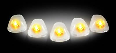 Recon Lighting - Ford 99-16 Superduty (5-Piece Set) Clear Cab Roof Light Lenses Only & Amber Xenon Bulbs - Image 2