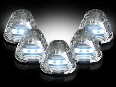 Lighting - Cab Roof - Recon Lighting - Ford 99-16 Superduty (5-Piece Set) Clear Lens with White LED's - Complete Cab Light Kit with all wiring & hardware