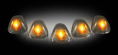 Recon Lighting - Ford 99-16 Superduty (5-Piece Set) Smoked Cab Roof Light Lenses Only & Amber Xenon Bulbs - Image 2