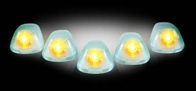 Recon Lighting - Ford 99-16 Superduty (5-Piece Set) Super White Cab Roof Light Lenses Only & Amber Xenon Bulbs - Image 2